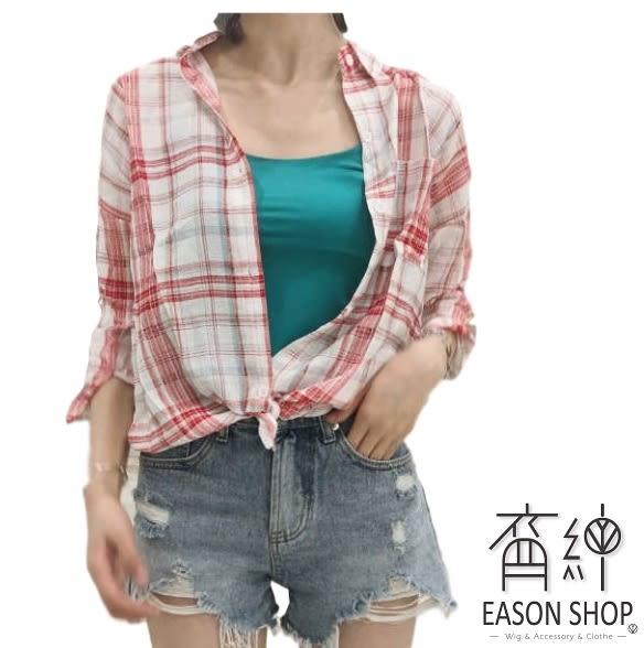 EASON SHOP(GW0206)實拍撞色格紋前短後長排釦薄款長版單口袋長袖襯衫外套女上衣服落肩寬鬆顯瘦罩衫