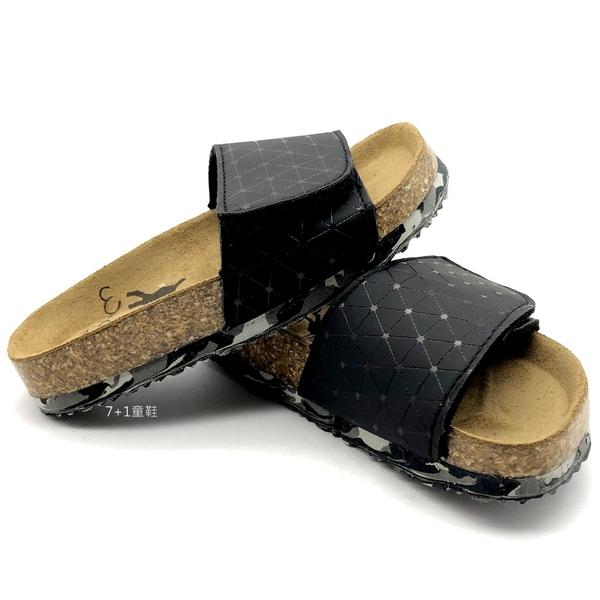 《7+1童鞋》台灣製 WONDER GO 牛皮鞋墊 經典質感 幾何線條 拖鞋 E041 黑色