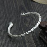 純銀手環(泰銀)-雕花造型生日情人節禮物女手鐲73gg129[時尚巴黎]
