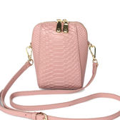 【O-ni O-ni】真皮鱷魚皮紋手機包女士時尚側肩包HWBH-P204-粉色
