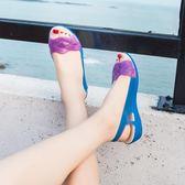 夏季新款坡跟媽媽涼鞋女果凍鞋沙灘鞋 全館免運