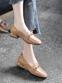 樂福鞋 年真皮平底單鞋夏季中跟女士軟皮皮鞋大碼女鞋夏款樂福鞋 【唯伊時尚】