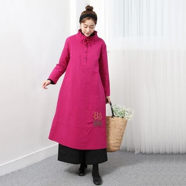 正韓 高領抽繩綁帶繡花洋裝 (8511) 預購
