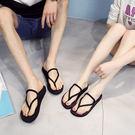 雙12購物節 女拖鞋 輕量時尚厚底夾腳拖...