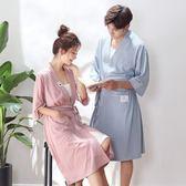 米蘭 情侶睡袍夏季棉短袖薄款女士夏天韓版中長款浴袍浴衣家居服
