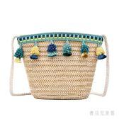 斜跨包女 夏季新款潮韓版時尚潮流原宿森系草編水桶包女 YN2『寶貝兒童裝』
