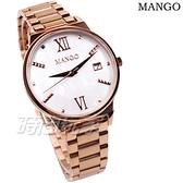 (活動價) MANGO 知性 羅馬時刻 珍珠螺貝面盤 女錶 防水 日期視窗 藍寶石水晶 玫瑰金x白 MA6756L-80R