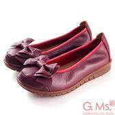 G.Ms.* MIT系列-全牛皮車線雙層蝴蝶結娃娃鞋*典雅紅