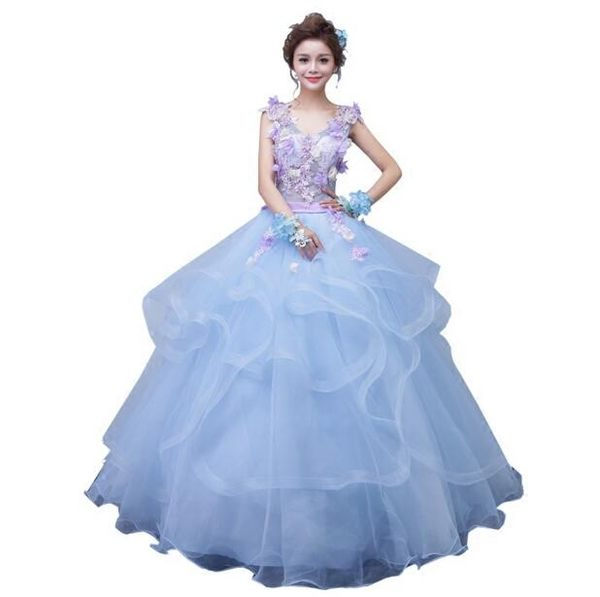 秋冬新款藝考服裝藍色禮服雙肩主持禮服獨唱禮服影樓主圖寫真