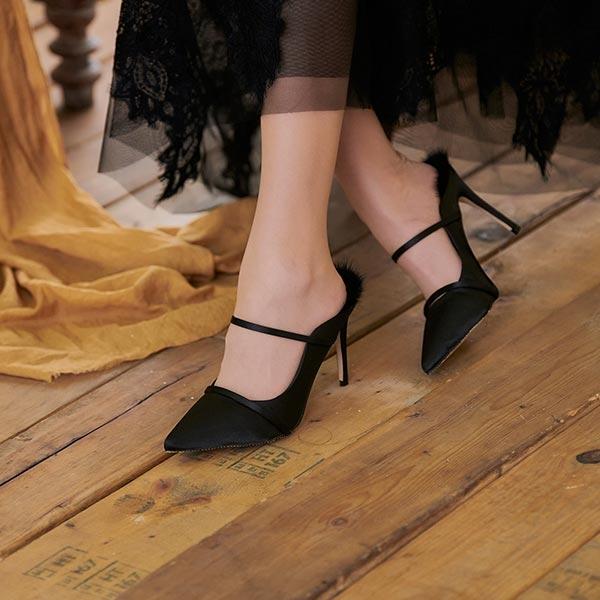 鞋子 一字繫帶毛毛高跟涼拖鞋-Ruby s 露比午茶