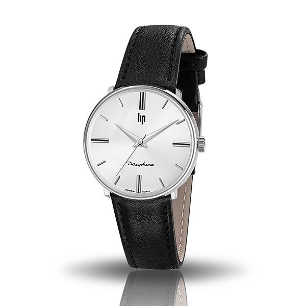【lip】Dauphine時尚質感白面真皮石英腕錶-黑銀款/671295/台灣總代理公司貨享兩年保固
