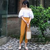 一字領五分袖上衣 休閒高腰長褲兩件套時尚套裝女裝 萬聖節服飾九折