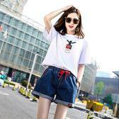 夏季新款鬆緊腰牛仔短褲女韓版學生高腰彈力大碼寬鬆胖mm顯瘦熱褲   可然精品鞋櫃