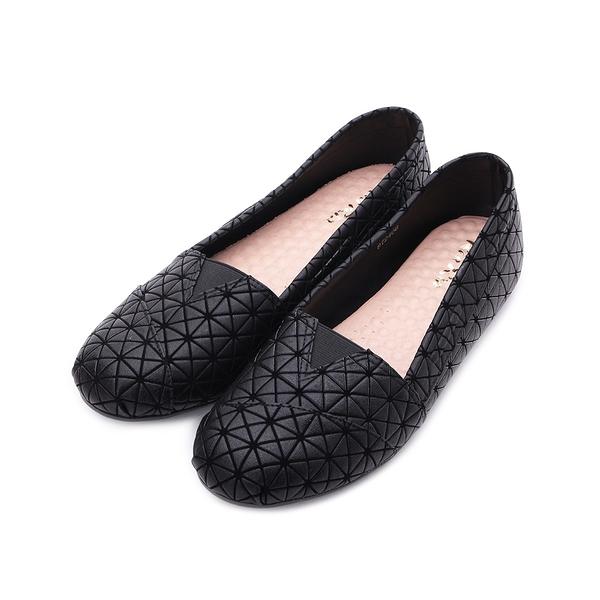 RIN RIN 特大尺碼 幾何格紋平底鞋 黑 女鞋