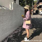 夏季新款港味寬鬆簡約長袖氣質襯衫裙洋裝女潮艾美時尚衣櫥