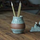 米蘭 龍泉青瓷手工刻花筆筒 文房四寶筆筒毛筆筆筒陶瓷創意 筆筒復古