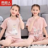 女童睡衣夏季薄款純棉冰絲兒童家居服小女孩純棉大童棉綢套裝夏天 格蘭小舖