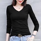 黑色T恤女長袖秋衣打底衫2020年秋冬洋氣內搭緊身上衣純棉v領外穿 蘇菲小店
