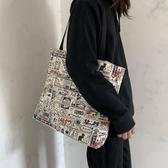 女兒國大容量旅行瑜伽帆布包女單肩日系復古插畫ins布包女帆布袋 - 風尚3C