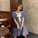 大尺码女装 大碼胖mm2021夏季新款方領中長款洋氣寬松顯瘦A字裙子收腰連衣裙