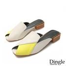 Dingle丁果ღ拼色時尚粗跟穆勒鞋懶人鞋(三色34-43)