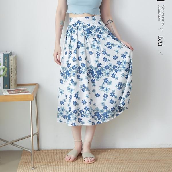 花朵寬壓摺後鬆緊長裙M-L號-BAi白媽媽【310780】