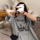 長款上衣 灰色短袖T恤女ins超火中長款下衣失蹤bm上衣寬鬆夏季潮 晶彩 99免運