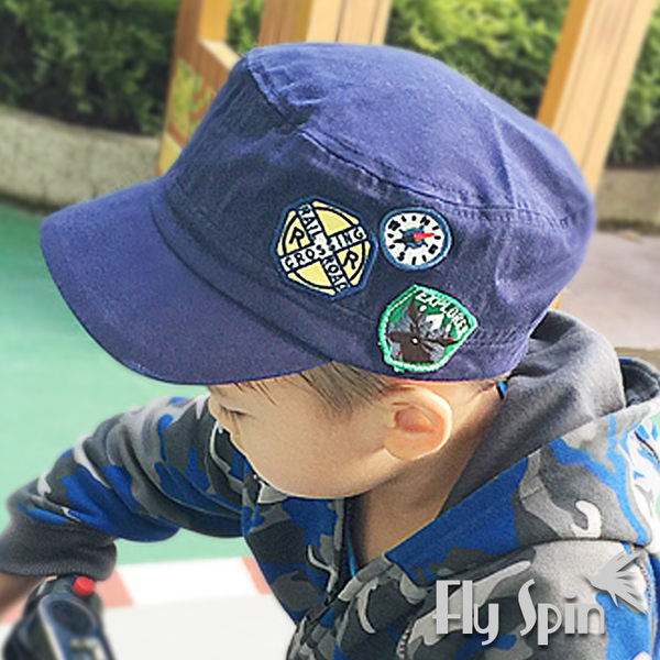 兒童帽-全棉休閒貼布裝飾平頂軍人帽C-901 FLYSPIN菲絲品