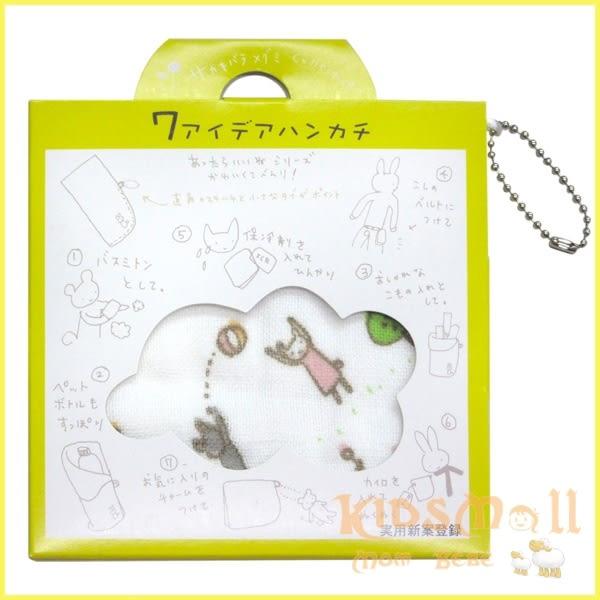 日本製Jogan,繪本風七用途純棉手帕,藍大象
