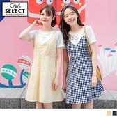 《KG0774》閨蜜系列~高含棉假兩件花朵刺繡格紋背心洋裝 OrangeBear
