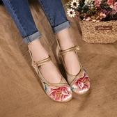 宮妃麗秀媽媽鞋老北京布鞋單鞋民族風繡花鞋坡跟繡花鞋廣場跳舞鞋
