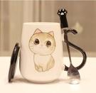 創意韓版貓咪陶瓷杯子情侶學生個性水杯牛奶杯馬克杯大容量辦公室 極簡雜貨