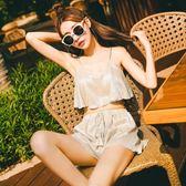 新款泳衣女三件套 韓國溫泉小香風比基尼少女游泳衣學生小胸聚攏 熊貓本