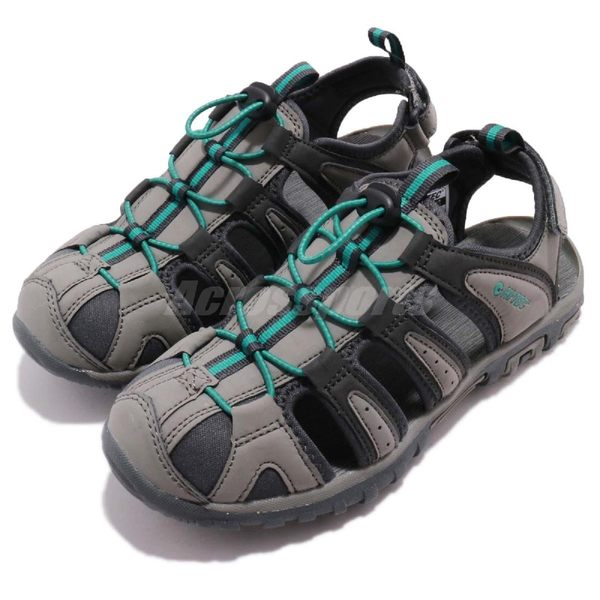 HI-TEC Cove Womens 灰 藍 護趾涼鞋 水陸兩棲 戶外 涼鞋 女鞋 【PUMP306】 O006193053
