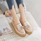厚底鞋/楔型鞋 年新款秋季休閑鞋韓版厚底松糕底一腳蹬樂福鞋流蘇淺口單鞋女