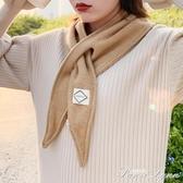 韓版新款小圍巾女秋冬小領巾交叉百搭裝飾三角巾網紅同款保暖圍脖 范思蓮恩