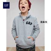 Gap男童 logo套頭長袖休閒上衣 秋裝兒童加絨童裝 314696-淺麻灰