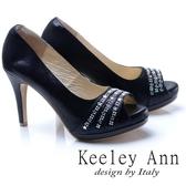 Keeley Ann 奢華質感~星茫水鑽造型真皮軟墊高跟魚口鞋(黑色)