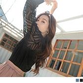 《AB14791-》微性感透膚立體紋理收腰長袖襯衫上衣 OB嚴選