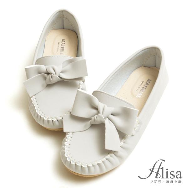 專櫃女鞋 MIT粉嫩蝴蝶結莫卡辛豆豆鞋-艾莉莎Alisa【24611903】灰色下單區