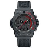 LUMINOX 雷明時NAVY SEAL CHRONO 3580海豹三眼計時腕錶 – 消光黑x紅時標/45mm A3581.EY