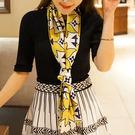韓版小絲巾女春秋絲巾百搭長款方巾領巾細窄圍巾長條紗巾領帶裝飾