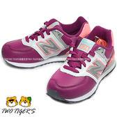 New Balance 574 白/紫色 皮革 中大童 運動鞋 NO.R0786