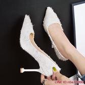 高跟鞋小清新細跟高跟鞋公主秋季新款毛毛鞋社會百搭韓版仙女單鞋女 年終狂歡