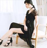 中大尺碼洋裝 蕾絲拼接雪紡V領短袖開叉氣質舒適連衣裙  L-5XL #wm432 ❤卡樂❤
