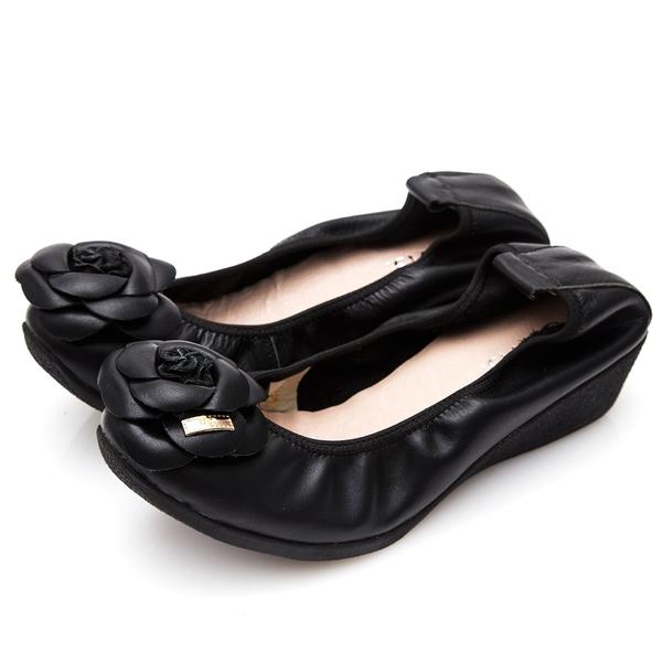 G.Ms. 經典山茶花‧柔軟彎折厚底坡跟牛皮娃娃鞋‧使壞黑