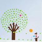 創意可移動壁貼 牆貼 背景貼 磁磚貼 兒童房佈置設計壁貼 蘋果樹【YP1637】BO雜貨
