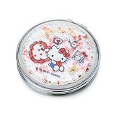 小禮堂 Hello Kitty 圓形流沙隨身雙面鏡 隨身化妝鏡 放大鏡 圓鏡 折鏡 (米 2021新生活) 4550337-40001