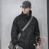 外套男 工裝外套男潮牌寬鬆大碼機能沖鋒衣日系秋冬連帽休閒男士夾克秋季
