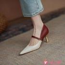 高跟鞋 2021年新款百搭尖頭性感拼色瑪麗珍女鞋淺口真皮高跟鞋女細跟單鞋 小天使 618